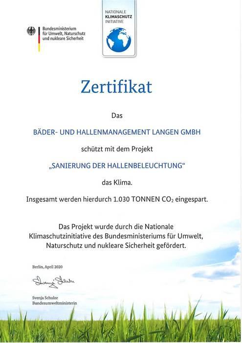 Zertifikat Bäder CO²-Einsparung durch Beleuchtungstausch