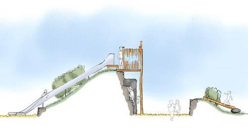 Stadtgarten - Balancierwelt und Kletterschlucht - Grafik