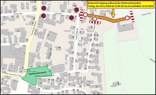 Hegweg - Keine Zufahrt über Weihnachtsmarkt - Plan