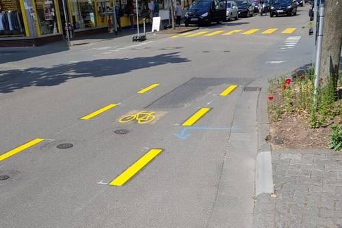 Bahnstraße Radfahrstreifen während Einbahnstraßenregelung