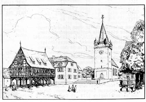 Zeichnung des ehemaligen Kirchplatzes (Wilhelm-Leuschner-Platz)