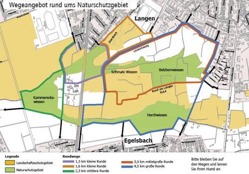 Wegeplan durch Naturschutzgebiete in der Südgemarkung