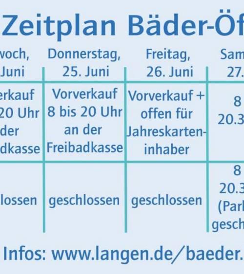 Bäder Zeitplan Öffnung
