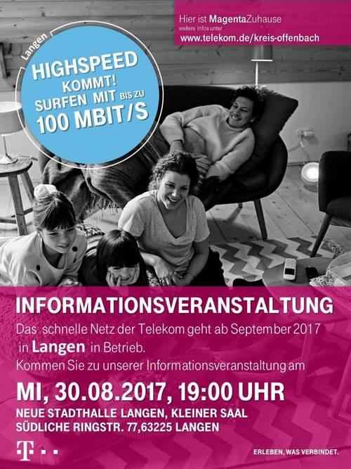 Plakat Highspeed Surfen in Langen - Infoveranstaltung