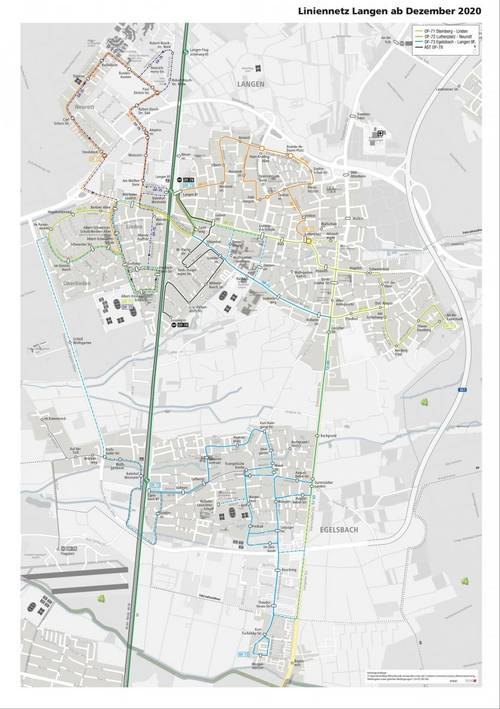 Liniennetzplan Langen Egelsbach mit Schulkursen ab 13.12.2020