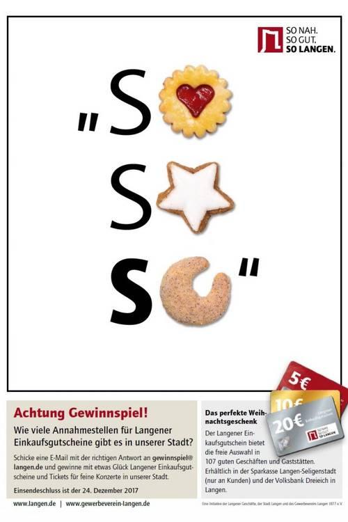 Plakat SoSoSo Weihnachtsgewinnspiel 2017