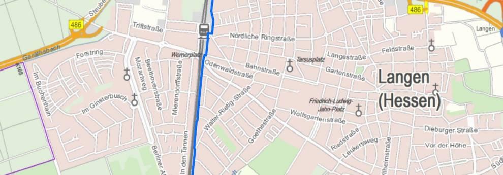 Karte Radschnellverbindung