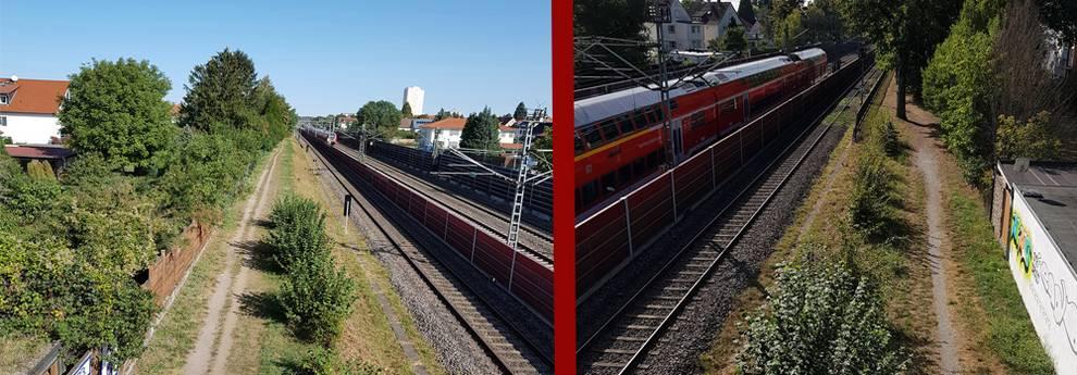 Slider Radweg westlich der Bahngleise