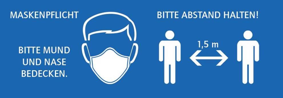 Slider Bitte Maske und Abstand